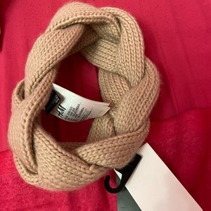 H&M braided knit head wrap headband turban pink